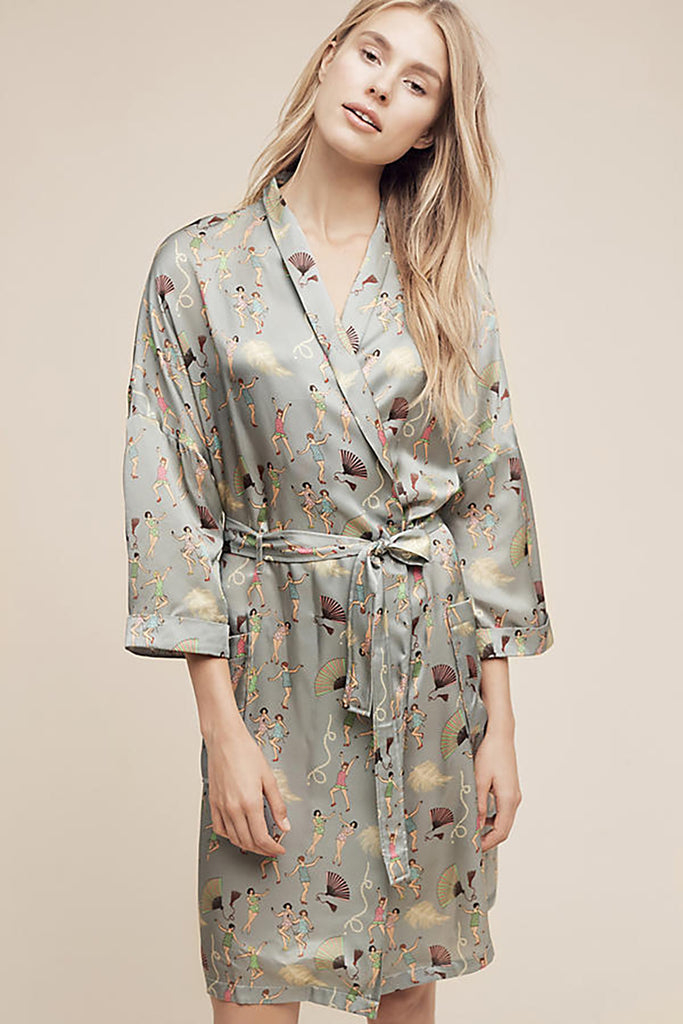 Anthropologie Karen Mabon Great Gatsby Silk Robe