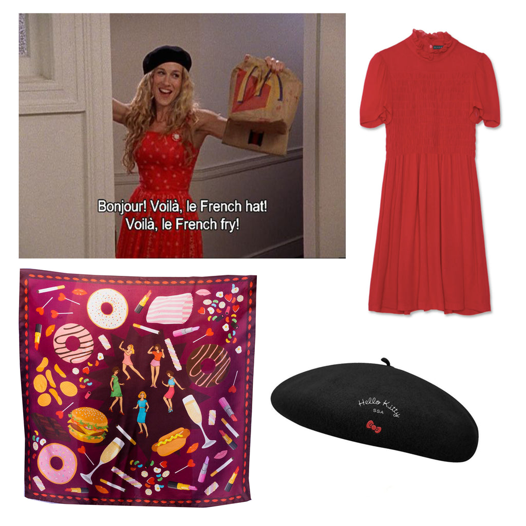 Sex and the City, Karen Mabon unhealthy scarf, Alexa Chung Smock dress, Hello Kitty Beret