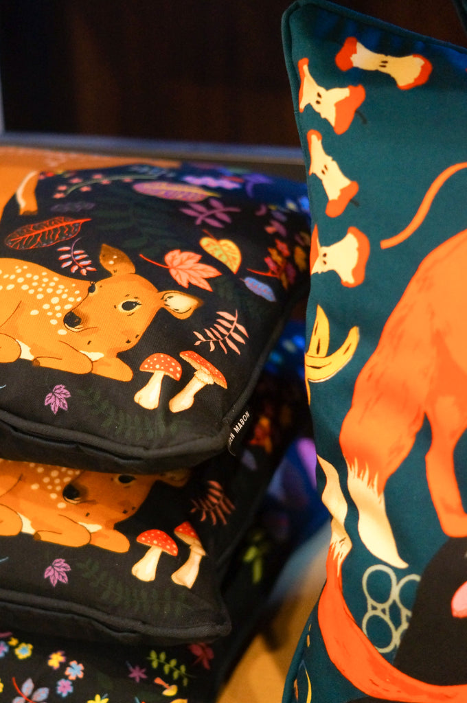 Karen Mabon Midnight Feast and Forest Fawns Cushions in Liberty London