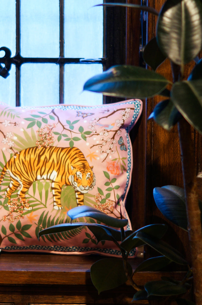 Karen Mabon Tiger Blossom Cushion at Liberty London