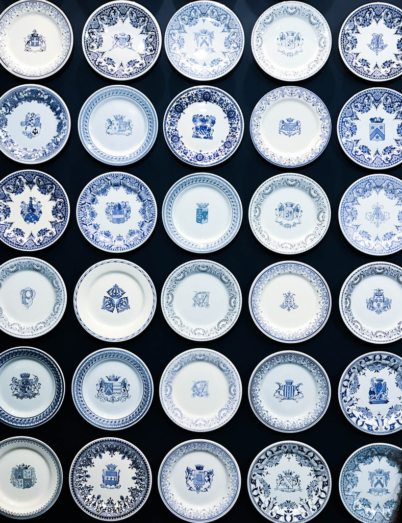 Paris - blue and white china plates