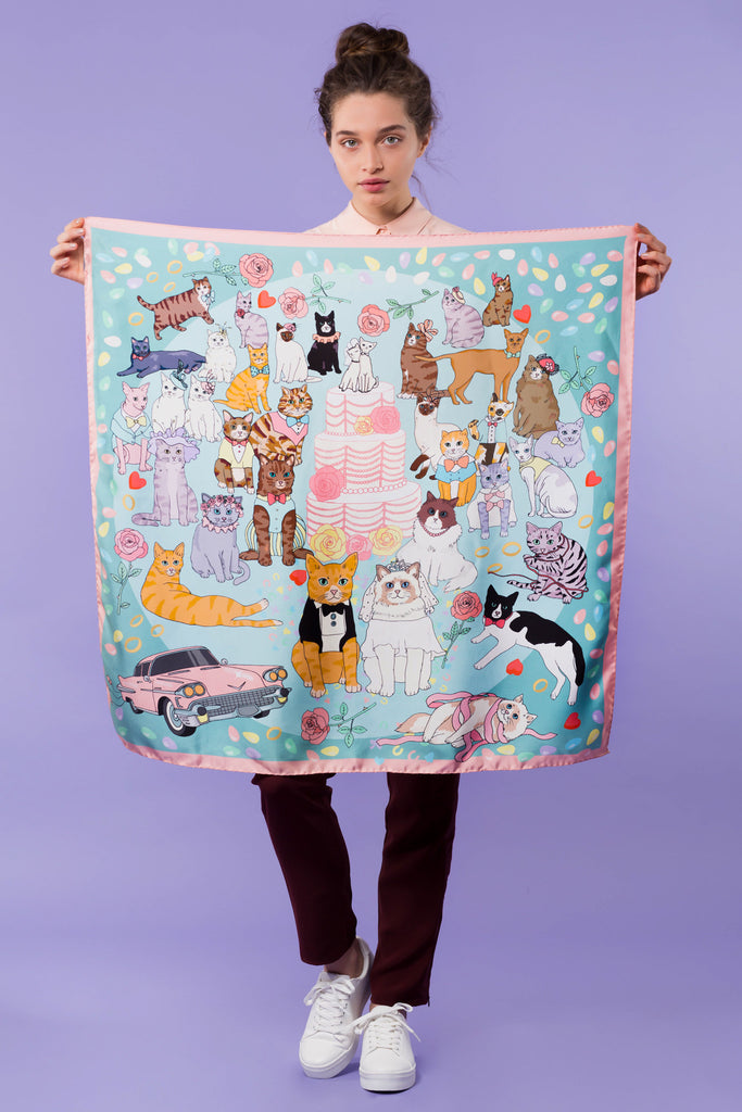 Karen Mabon Cat Wedding Silk Scarf