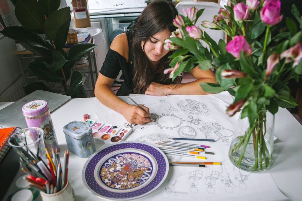 Karen Mabon drawing Buckingham Palace collection