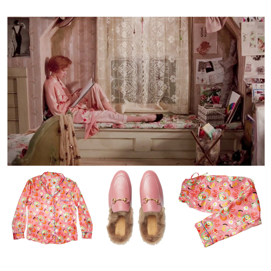 Pretty in Pink, Regency Cafe Silk Pyjamas and Gucci Slippers