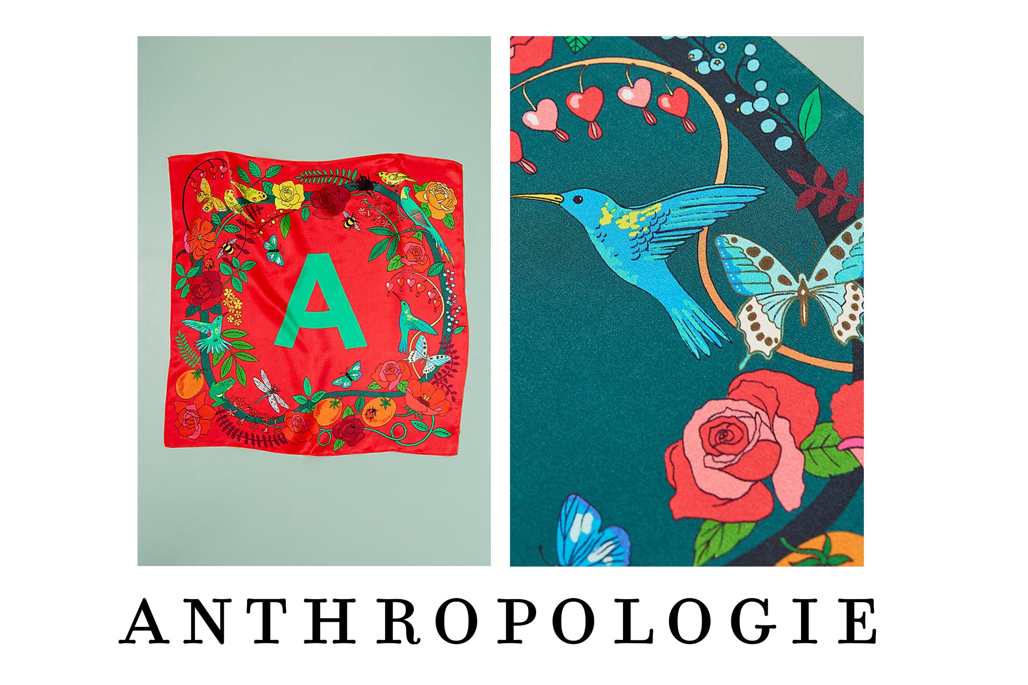 Anthropologie Monogram silk neck ties