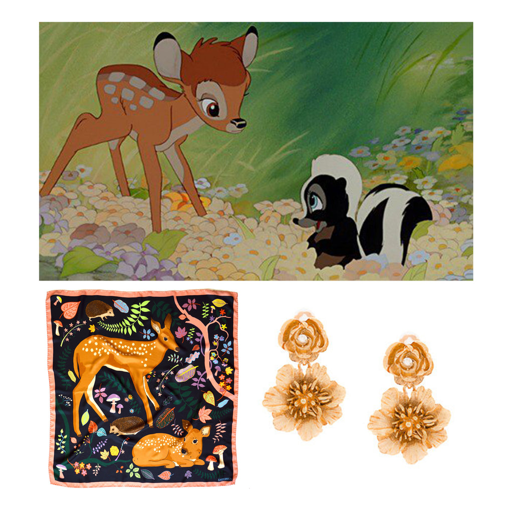 Bambi, Karen Mabon Forest Fawns Silk Scarf and Oscar de la Renta earrings.