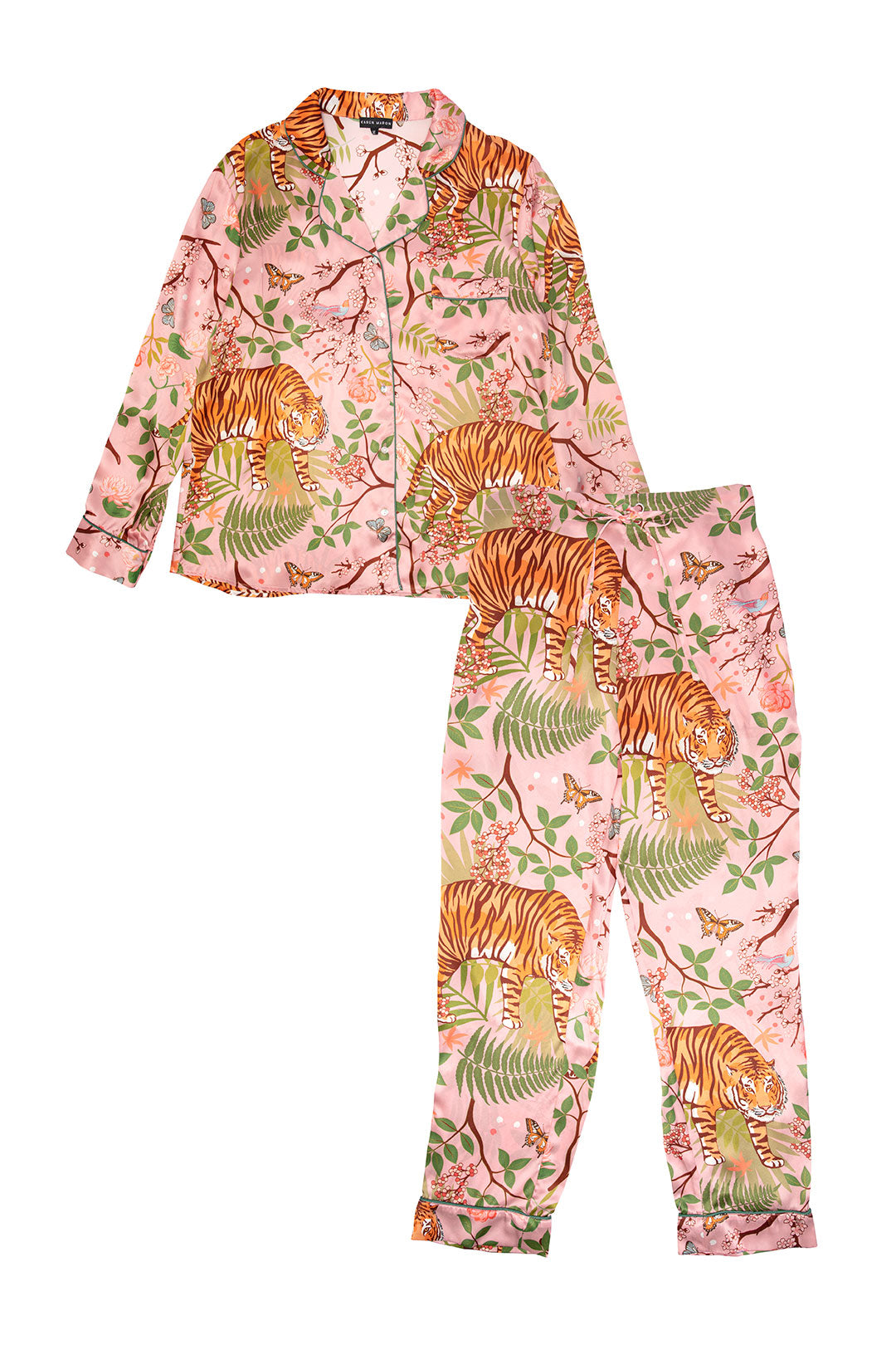 Tiger Blossom silk pyjamas, pink pyjamas with illustrations of tigers and green leaves