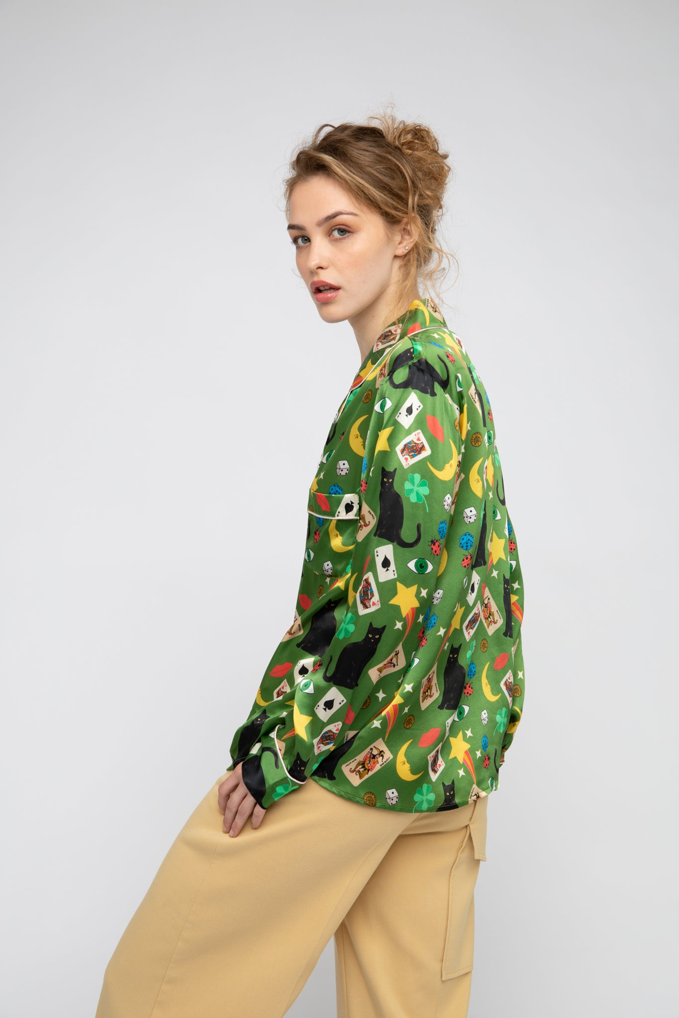 Lucky Silk Shirt - Olive