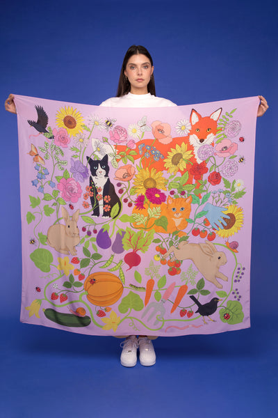 Garden of Earthly Delights oversized silk scarf