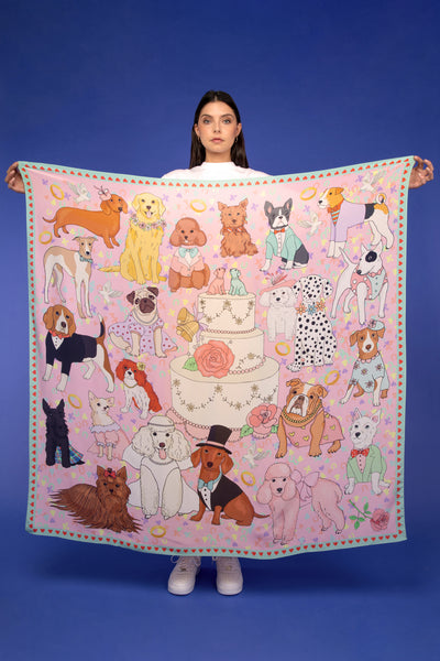 Dog Wedding Oversized Silk Scarf