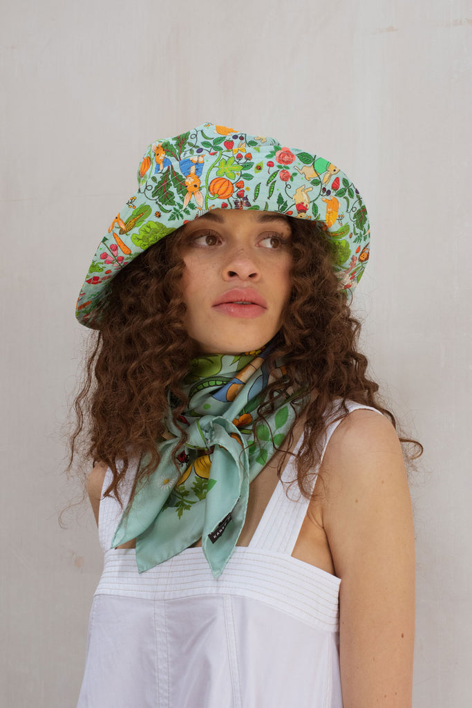 Karen Mabon X PETER RABBIT™ Mr. McGregor's Garden Silk Scarf - Sky Blue