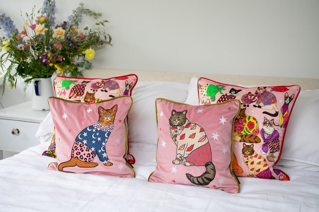 Fashion Cat Embroidered Velvet Cushion Cover  |  Stars & Moons