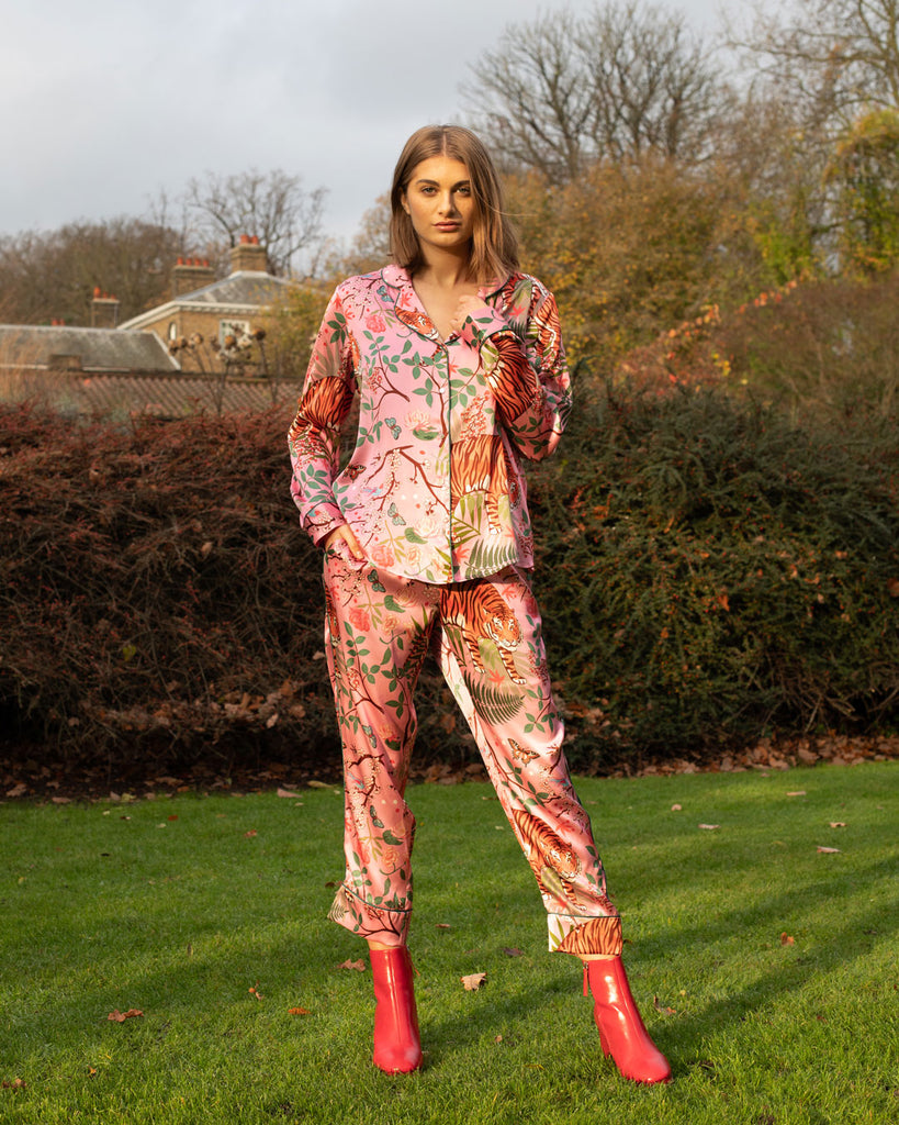 Tiger Blossom Silk Pyjama Set - Straight Leg