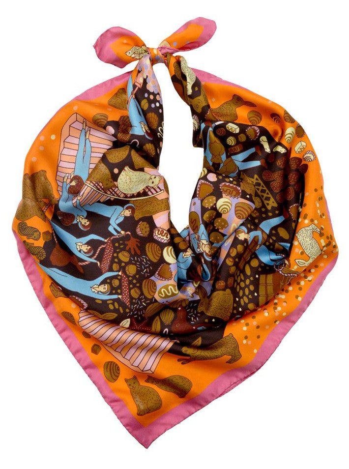 CHOCOLATE FACTORY SILK SCARF