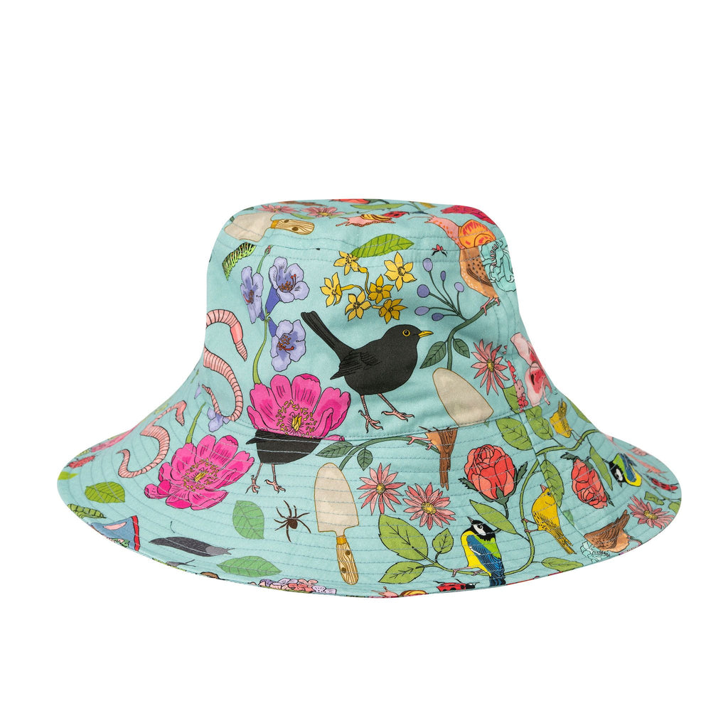 Product photo of Sun Hat on white background of Garden Birds Sun Hat. A sky blue sun hat with fllowers, British birds, insects and gardening tools
