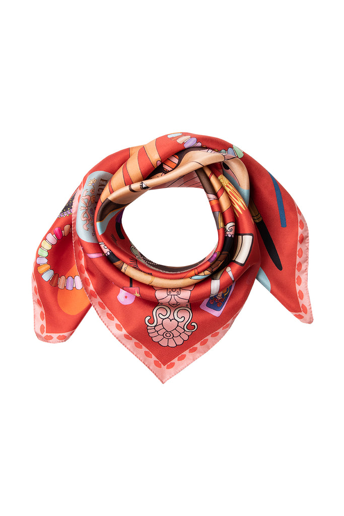 Glow Up Silk Scarf - Red