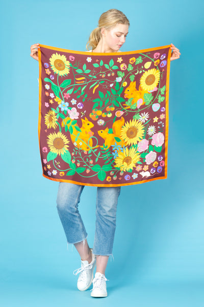 Sunflowers and Squirrels Silk Scarf