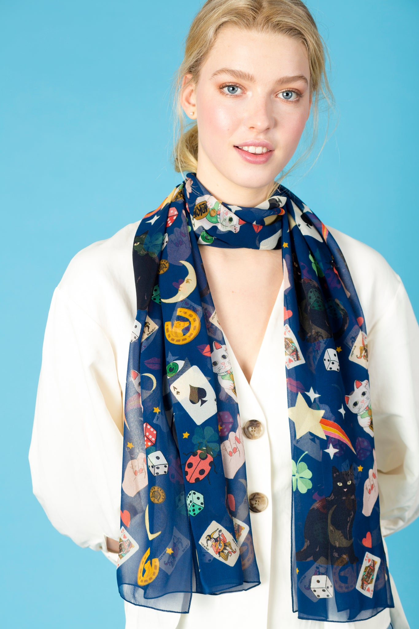 Lucky Day Silk Georgette Scarf in Midnight