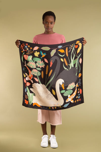 Swan Lake Silk Scarf - Charcoal