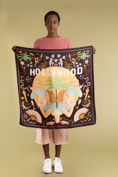Hollywood Silk Scarf - Midnight