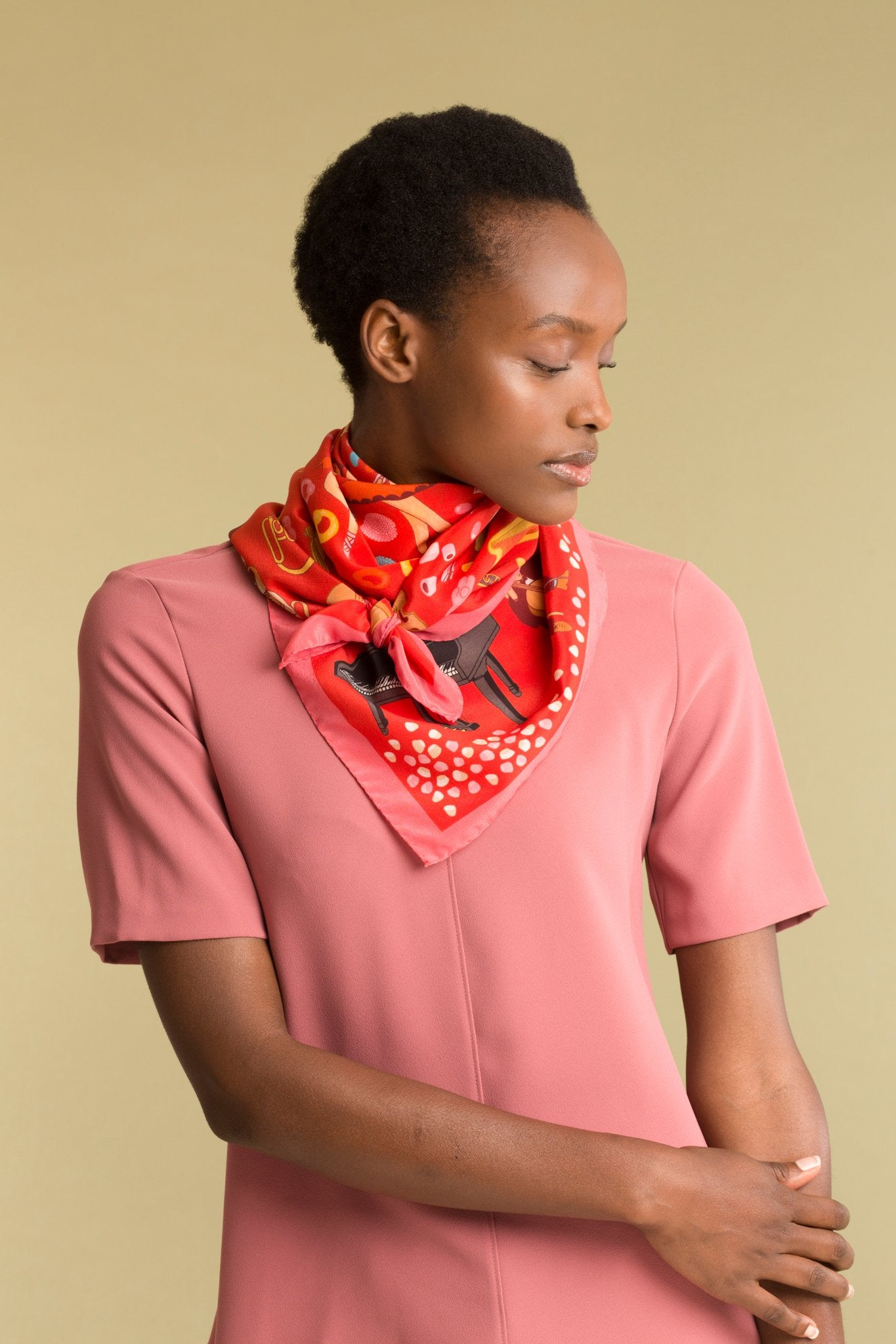 Night At The Theatre Silk Scarf - Red