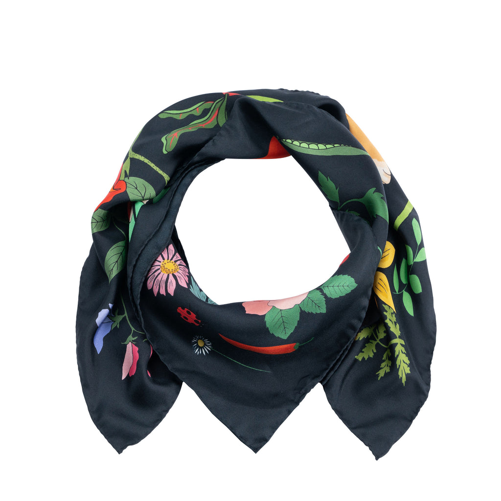 Karen Mabon X PETER RABBIT™ Mr. McGregor's Garden Silk Scarf - Navy