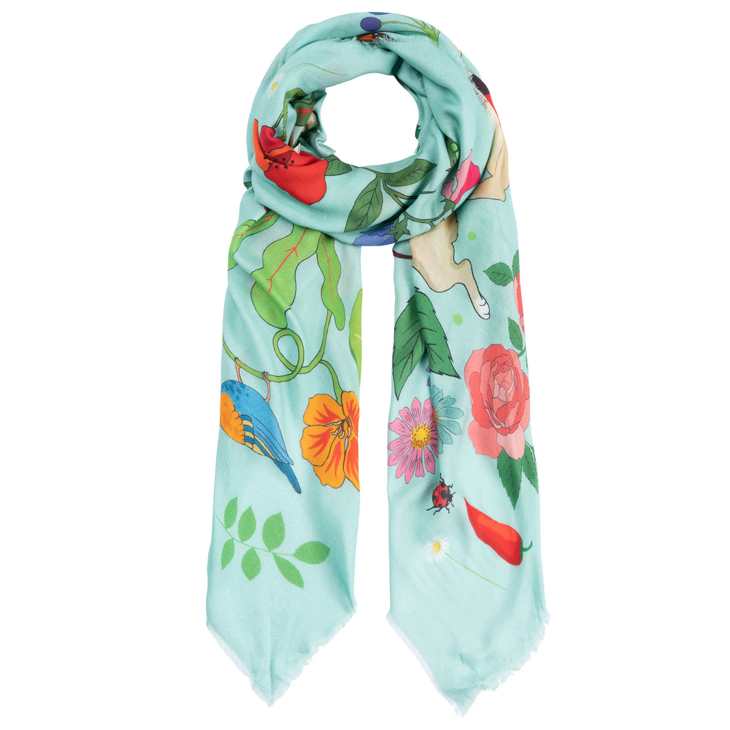 Karen Mabon X PETER RABBIT™ Mr. McGregor's Garden Cashmere Blend Scarf - Sky Blue