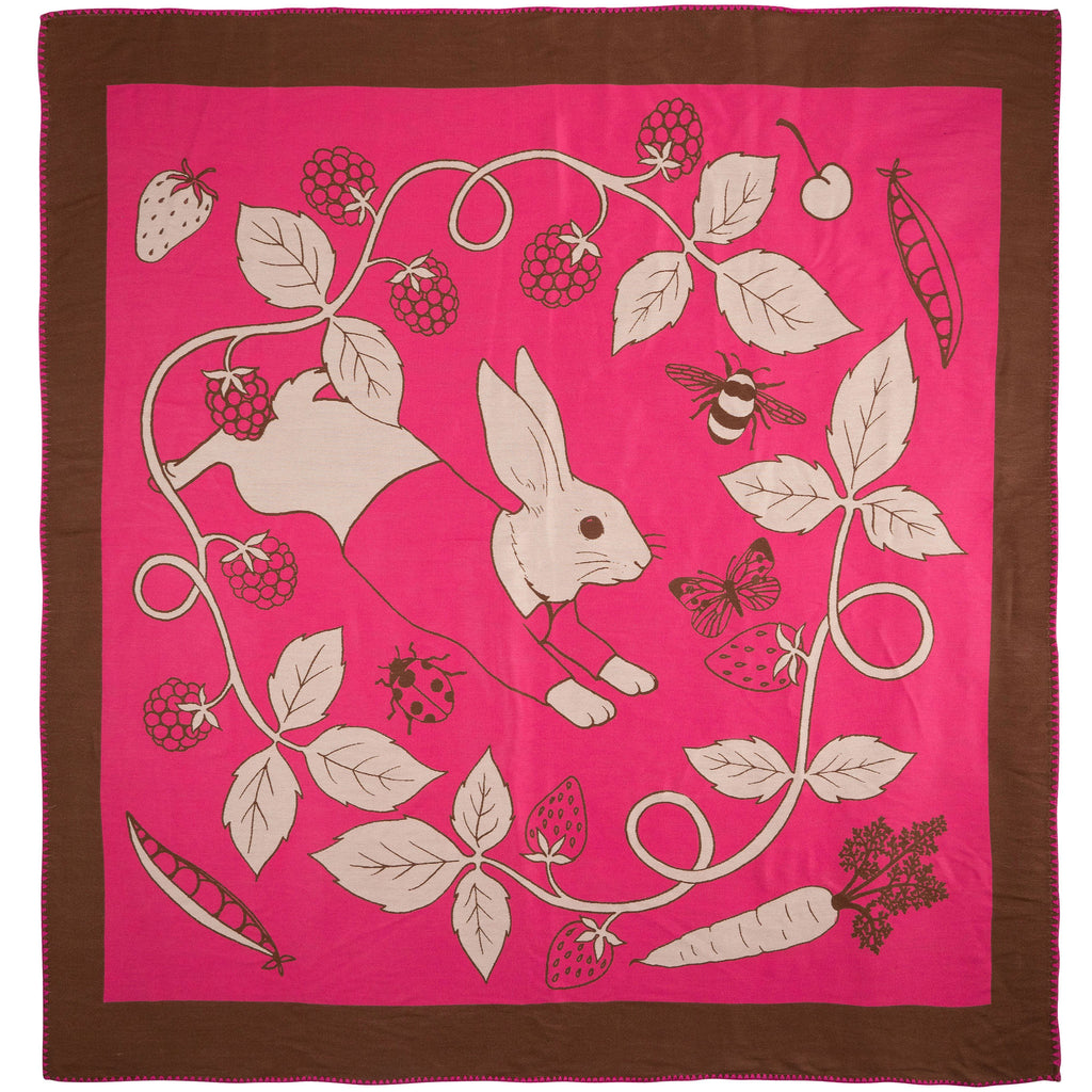 PRE-ORDER Karen Mabon X PETER RABBIT™ Cotton Tail Blanket - Raspberry