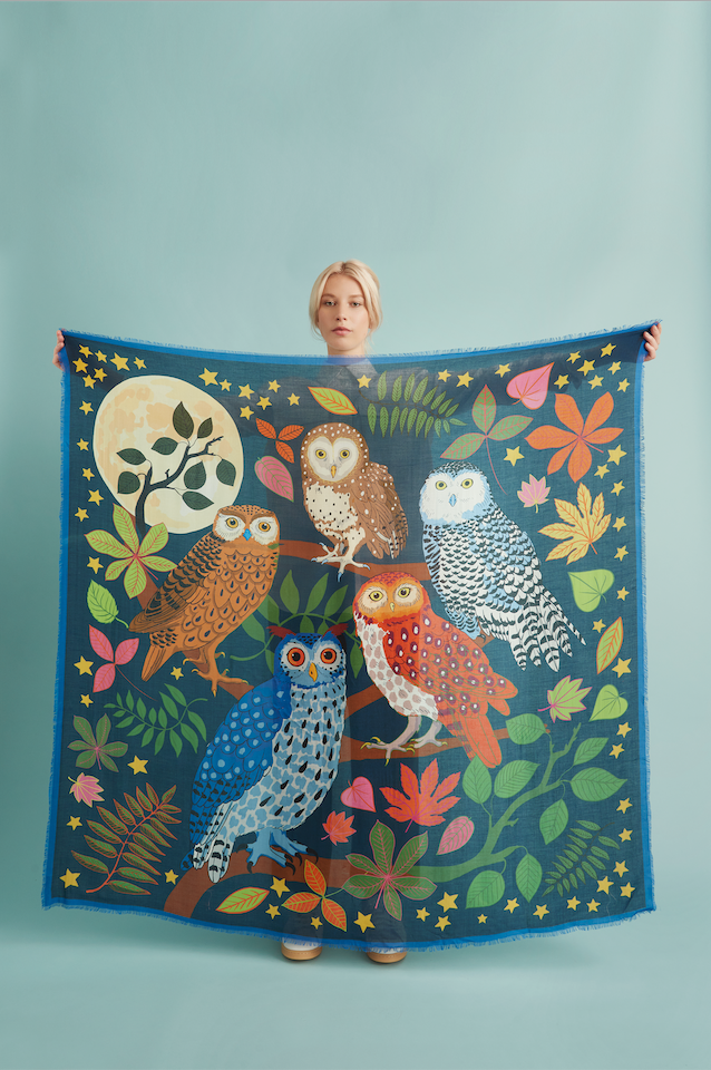 Cashmere blend scarf featuring fun owl print, illustrated by Karen Mabon