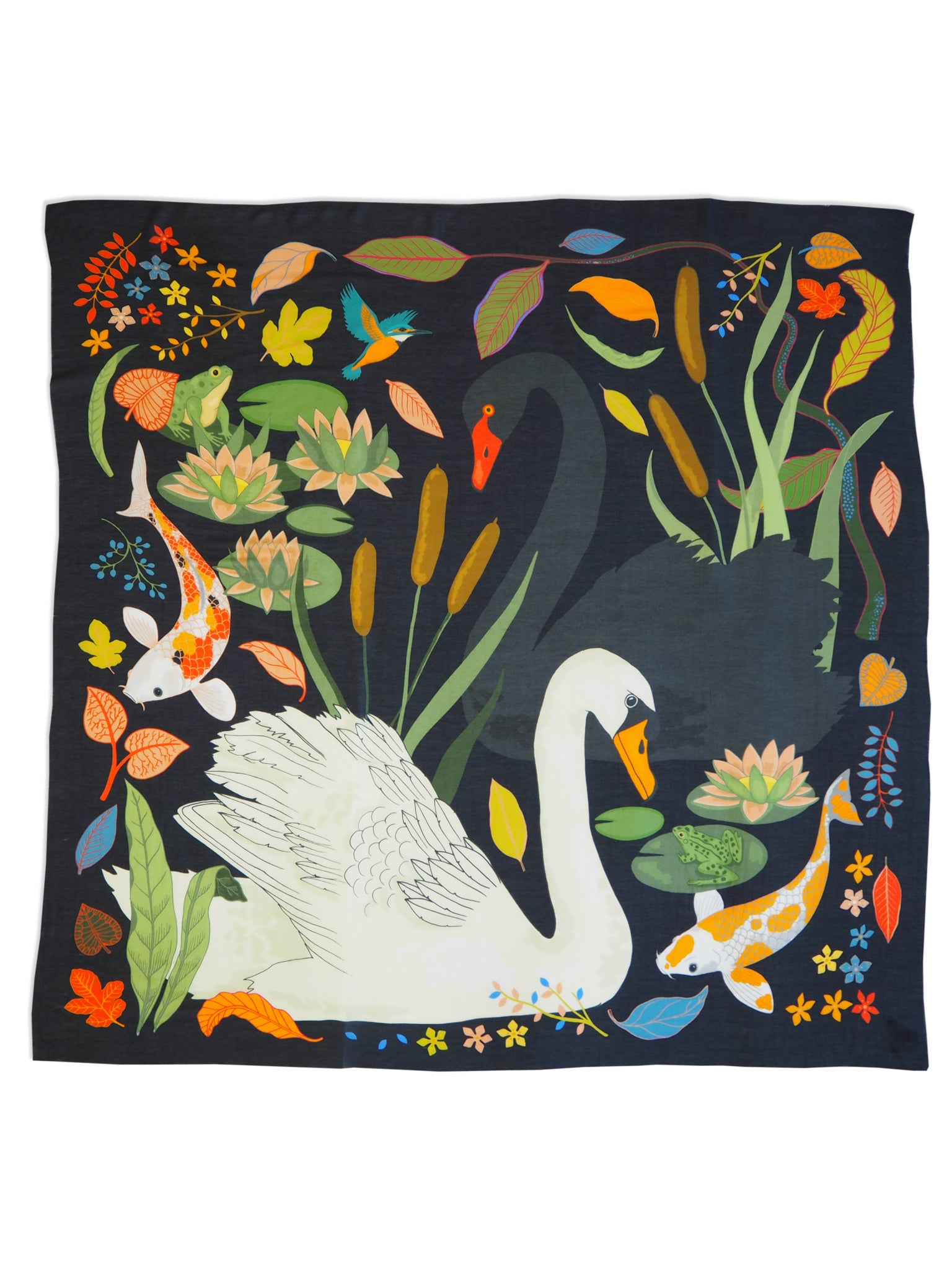 Swan Lake Cashmere Scarf - Charcoal