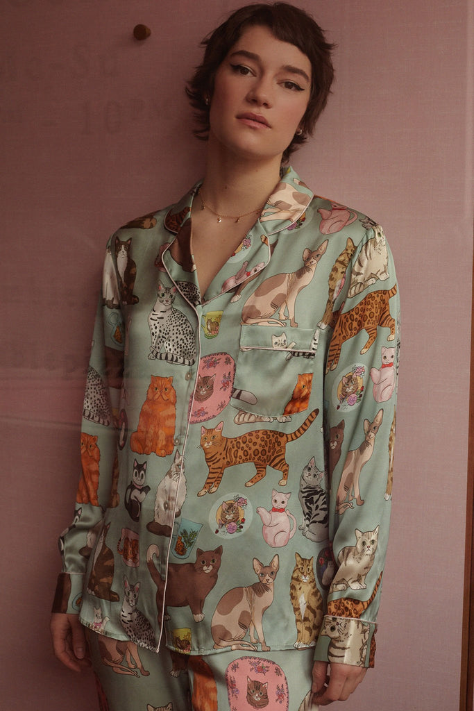 Cat Person silk sleepwear, featuring cats and crockery
