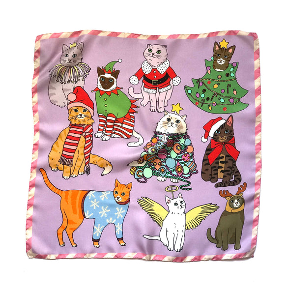*Limited Edition* Christmas Cats silk scarf