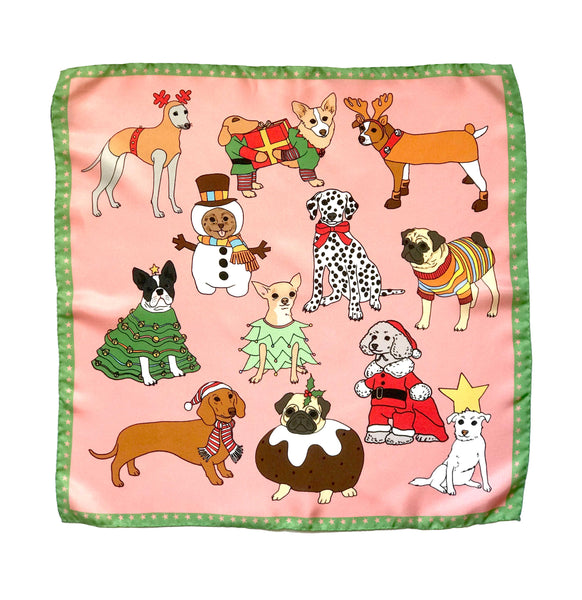 *Limited Edition* Christmas Dogs silk scarf