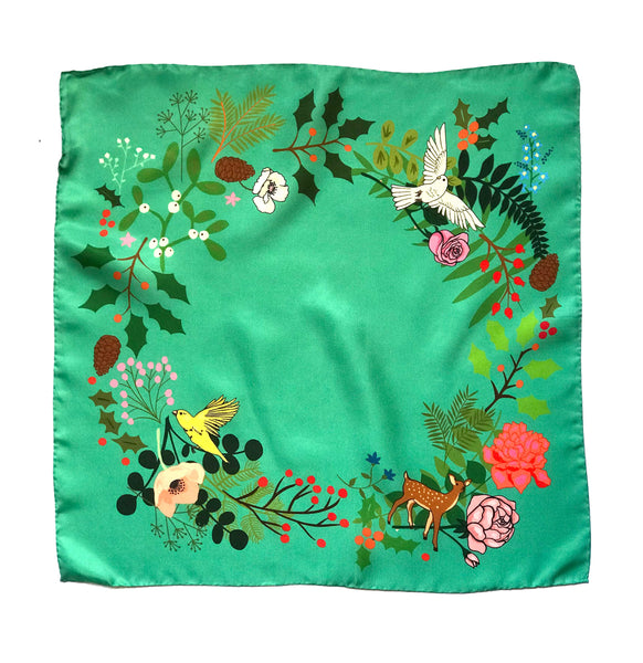 *Limited Availability* Christmas Wreath Silk Scarf (Teal)