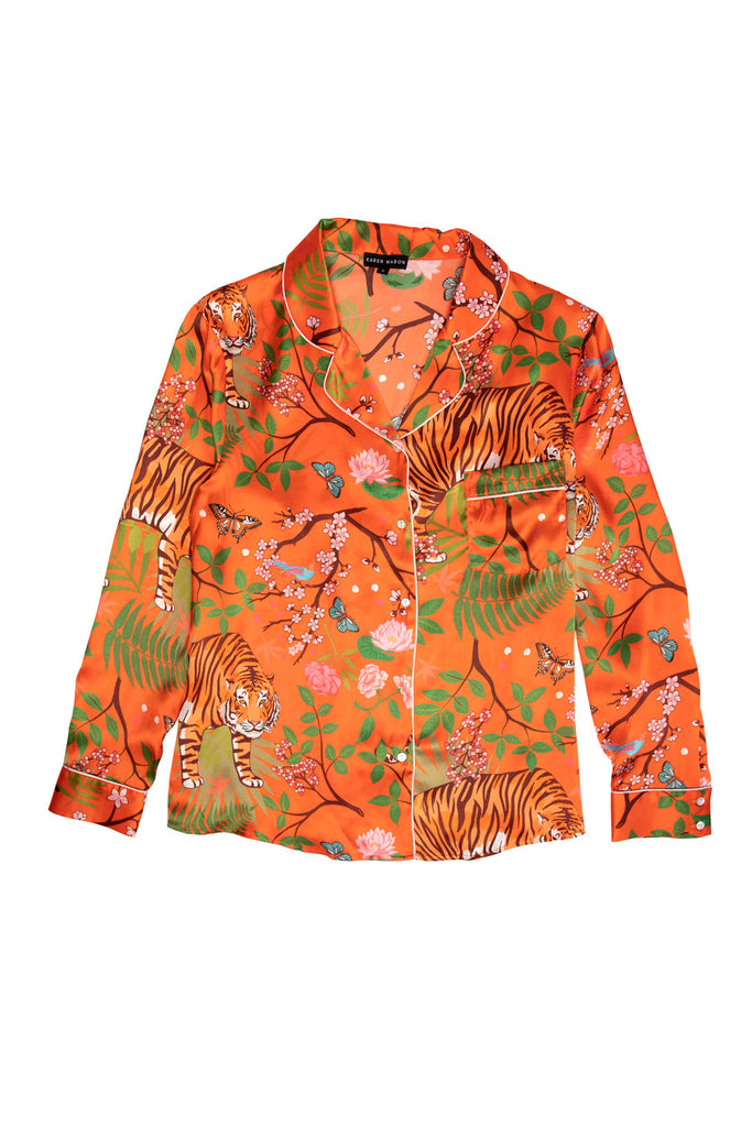 Tiger Blossom Silk Pyjama Shirt | Limited Edition Crimson