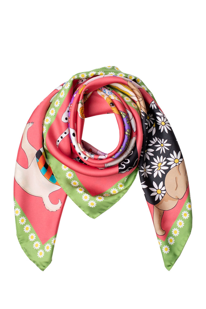 Fashion Dogs Silk Scarf | Raspberry