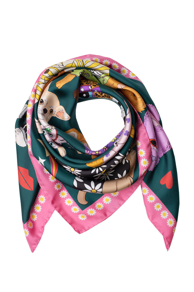 Fashion Dogs Silk Scarf | Teal