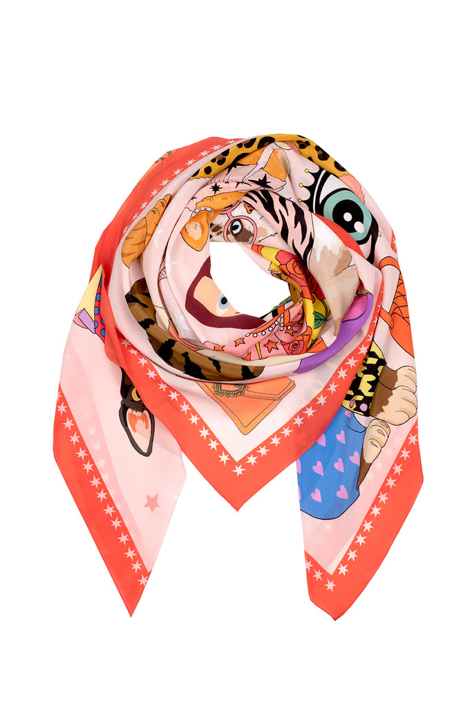 Fashion Cats Oversized Silk Scarf - Pink