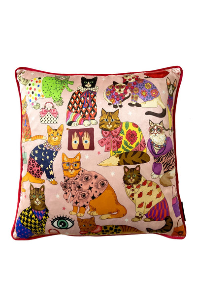 Fashion Cats Cushion Cover | Pink | Silk & Cotton Blend