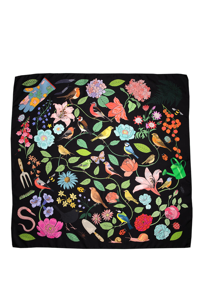 Garden Birds Silk Scarf - Black