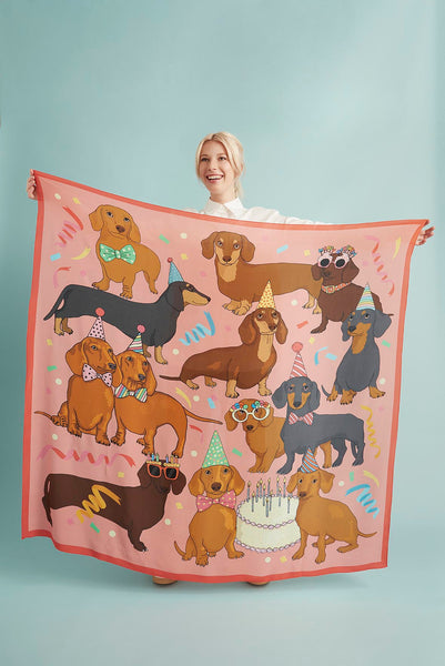 Hot Dog Birthday Party Oversized Silk Scarf