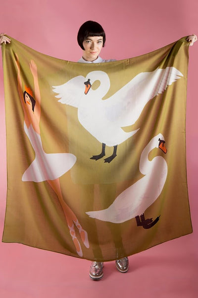 Swan Lake Wool Scarf
