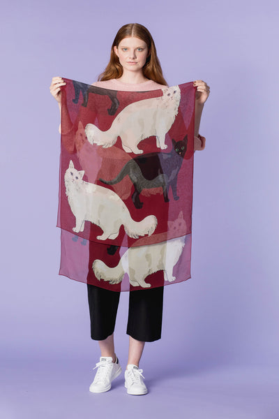 LOVE CATS SILK GEORGETTE SCARF