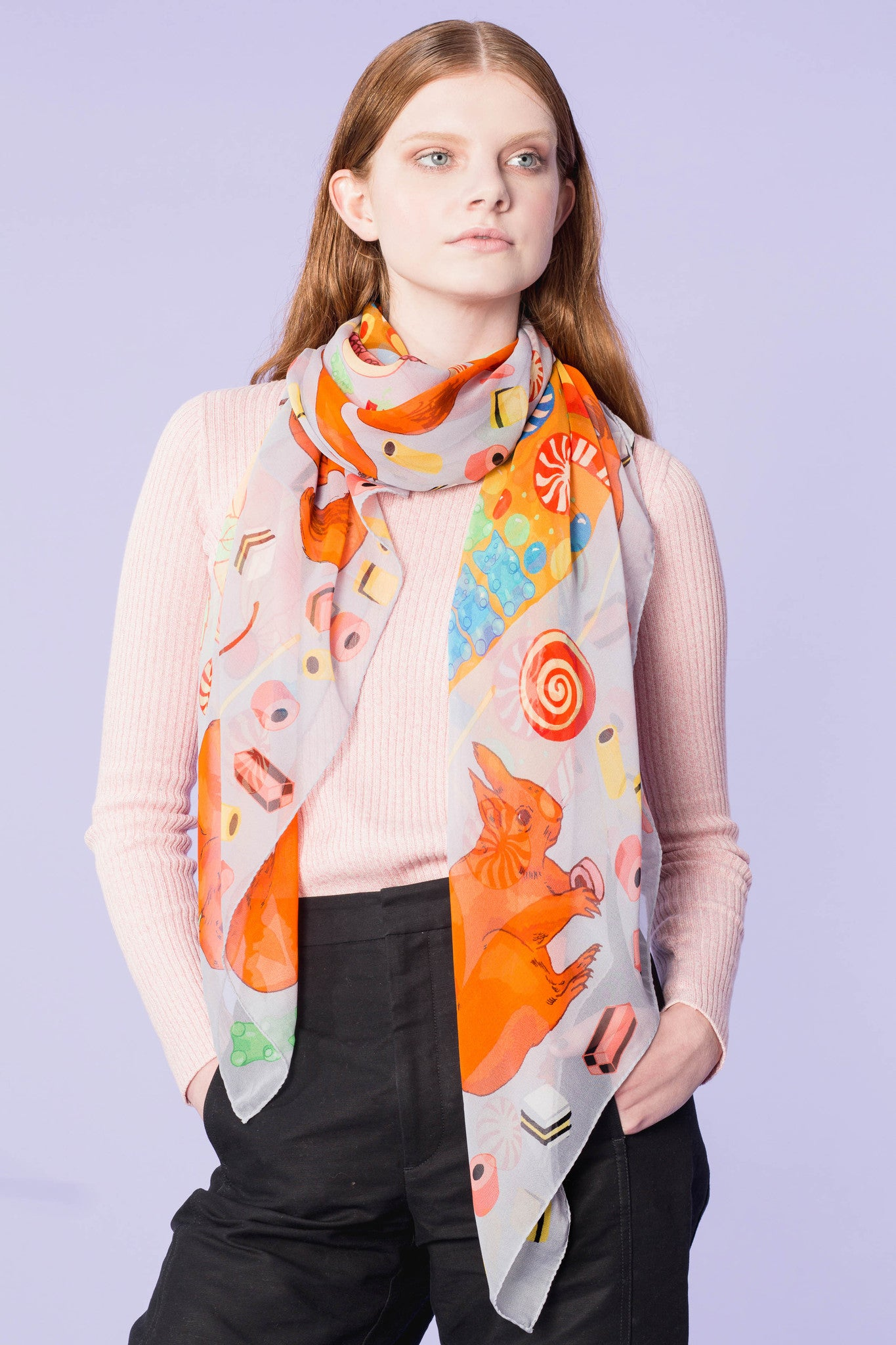 SWEET AS A NUT SILK GEORGETTE SCARF
