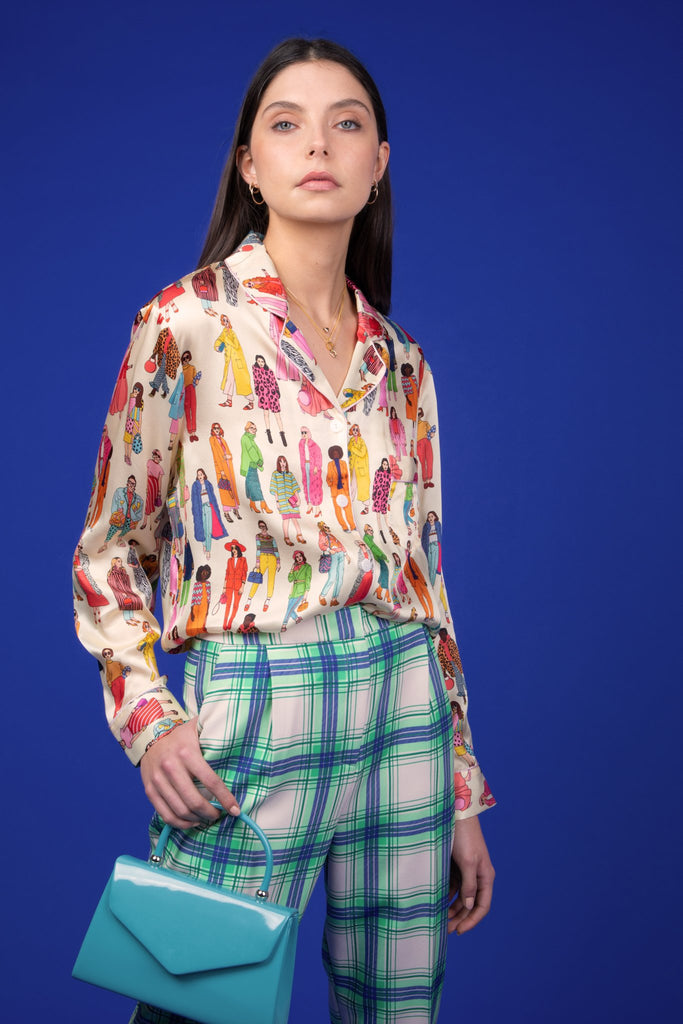 Karen Mabon Fashion Silk Pyjama Shirt featuring people wearing colourful statement outfits, long sleeves and pearl buttons