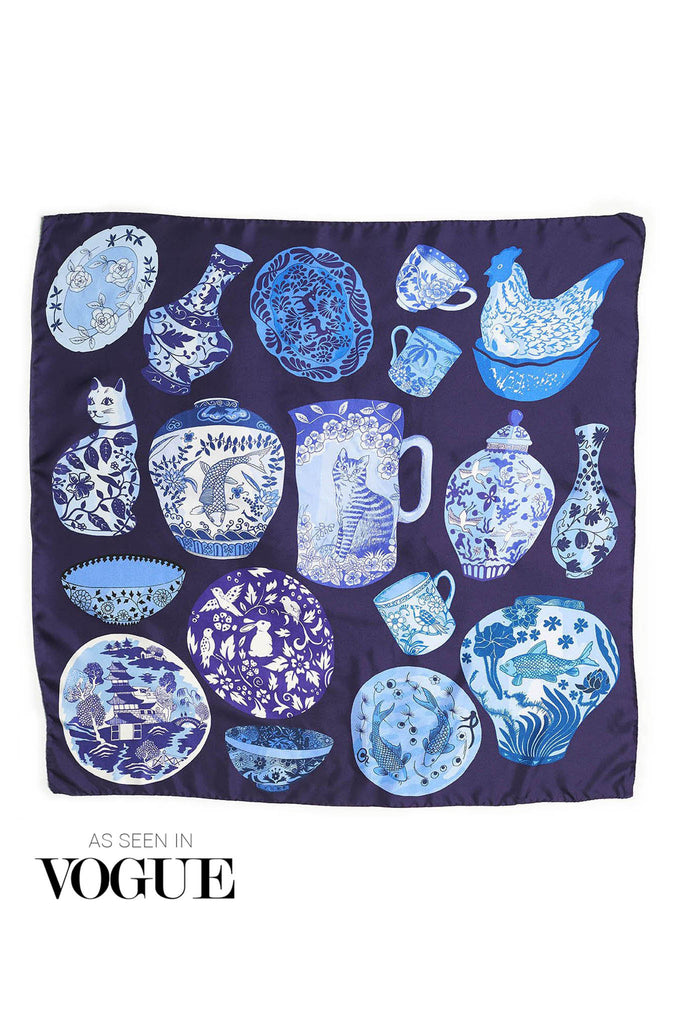 Blue and white pottery illustration on luxury silk scarf by designer Karen Mabon, made in Italy