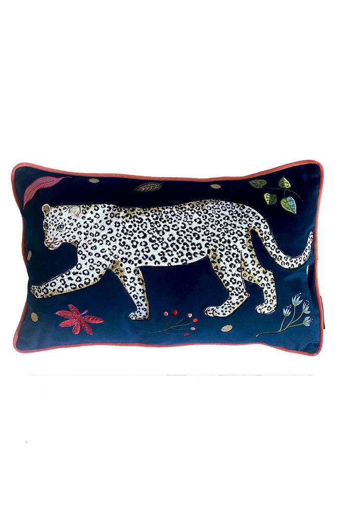 Snow Leopard Velvet Bolster Cushion Cover | Left Facing Leopard