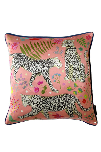 Snow Leopard Cushion Cover | Pink | Silk & Cotton Blend