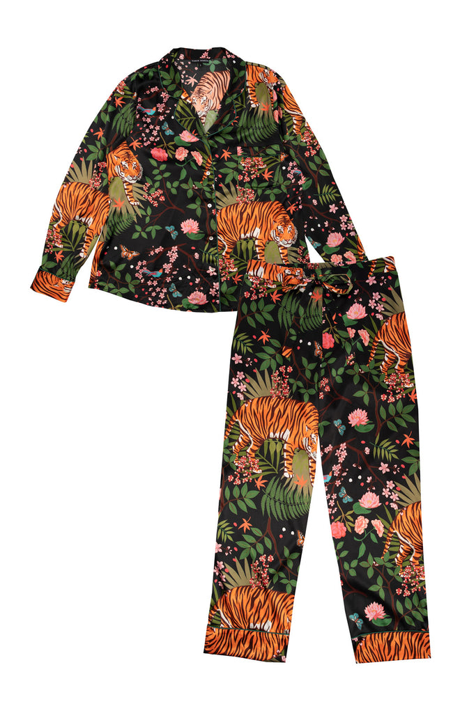 Midnight Tiger Silk Pyjama Set - Straight Leg
