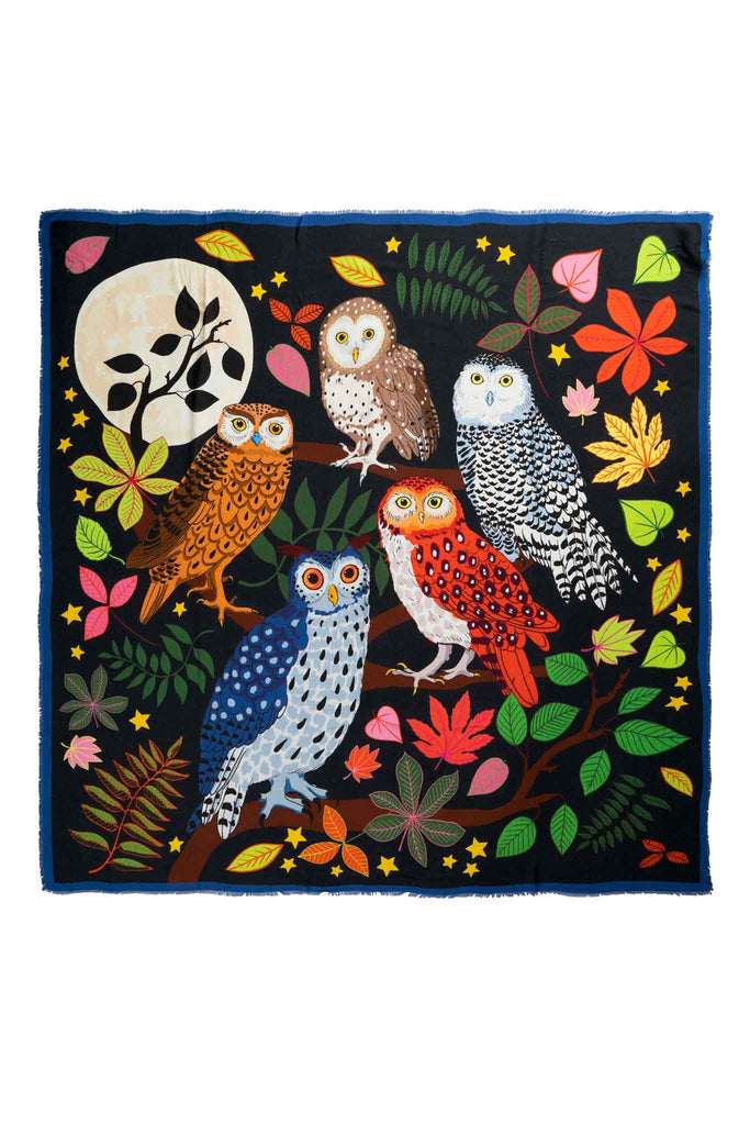 Cashmere square scarf with owls, leaves and the moon in a night-scene illustrated by designer Karen Mabon